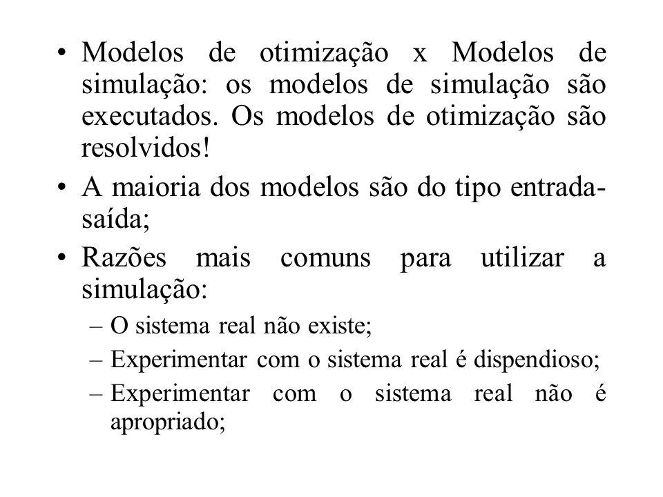 Modelos de otimização x Modelos de simulação: os modelos de simulação são executados. Os modelos de otimização são resolvidos! A maioria dos modelos s