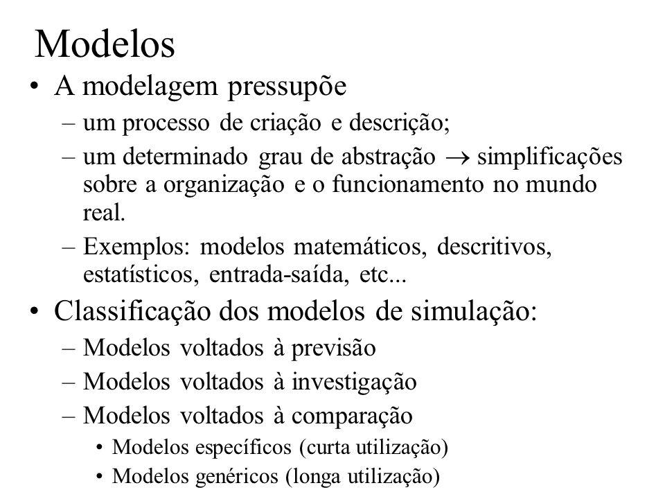 Modelos A modelagem pressupõe –um processo de criação e descrição; –um determinado grau de abstração simplificações sobre a organização e o funcioname