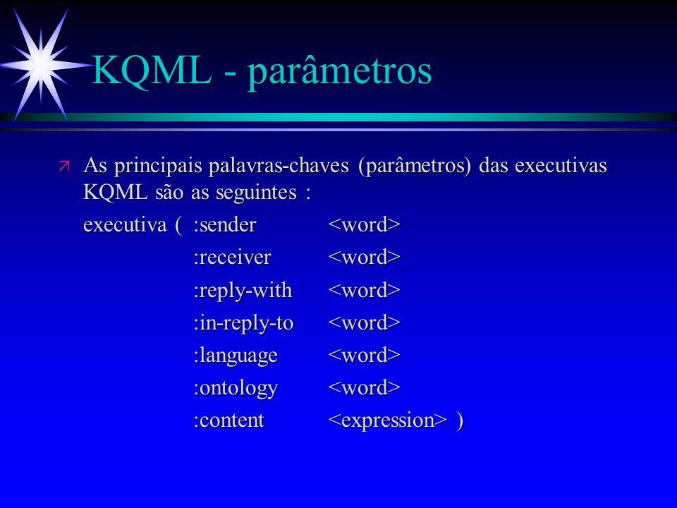 KQML - Knowledge, Query and Manipulation Language ä KQML é uma linguagem e um conjunto de protocolos que apoiam a comunicação entre agentes de software.
