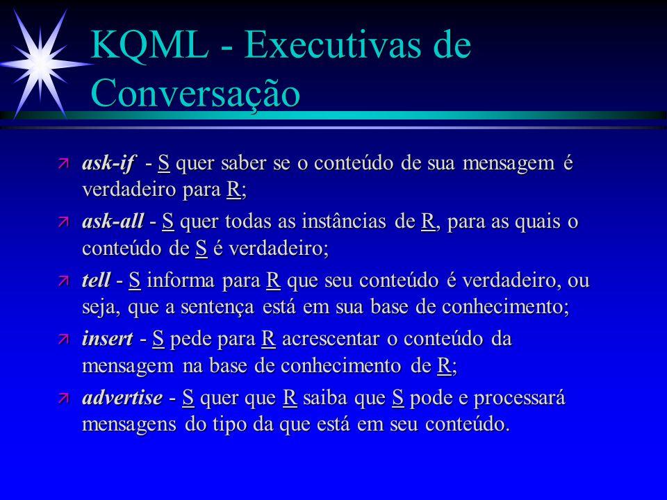KQML - Executivas (atos de fala) ä De acordo com seu significado as executivas podem ser enquadradas nas seguintes categorias : l Executivas de Conversação l Executivas de Intervenção l Executivas de Facilitação e Rede