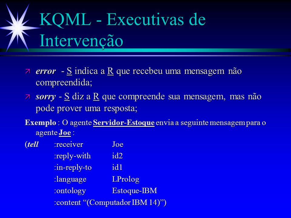 KQML - Executivas de Conversação Exemplo (cont.) : O agente A responde ao agente Bcom a seguinte mensagem : Exemplo (cont.) : O agente A responde ao agente B com a seguinte mensagem : (tell :senderB :receiverA :in-reply-toid2 :reply-withid3 :languageprolog :ontologyDI :contentProfessor(Geber,Agentes))