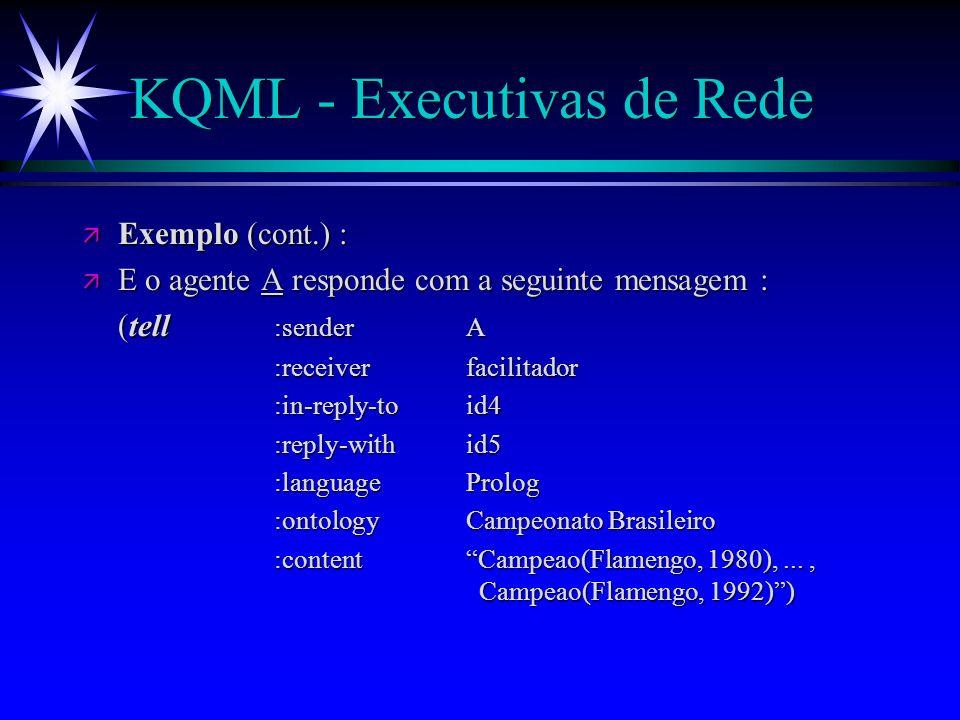 KQML - Executivas de Rede ä ä Exemplo (cont.) : ä ä Então, o agente facilitador depois de procurar pelas mensagens advertiseque tem sido recebidas por ele, decide enviar a seguinte mensagem para o agente A : (ask-all :senderfacilitador :receiverA :in-reply-toid1 :reply-withid4 :languageProlog :ontologyCampeonato Brasileiro Campeao(Flamengo,Y))) :content Campeao(Flamengo,Y)))