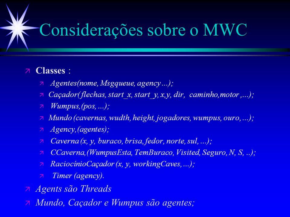 Implementação ä Linguagens : ä Java; ä KQML; ä Ferramentas : ä JEPS; ä JATLite; Classe Raciocínio do Caçador; Classe Agency;