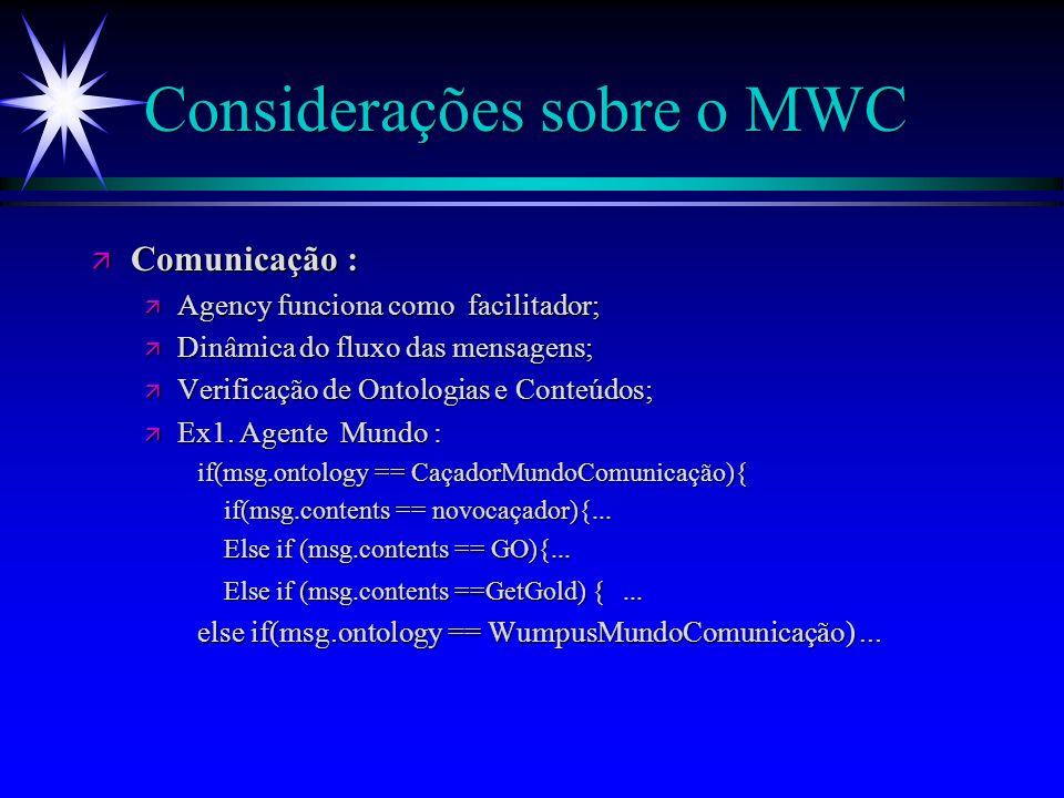 Considerações sobre o MWC ä ä Classes : ä ä Agentes(nome, Msgqueue, agency...); ä ä Caçador( flechas, start_x, start_y, x,y, dir, caminho,motor,...); ä ä Wumpus,(pos,...); ä ä Mundo (cavernas, wudth, height, jogadores, wumpus, ouro,...); ä ä Agency,(agentes); ä ä Caverna (x, y, buraco, brisa, fedor, norte, sul,...); ä ä CCaverna,(WumpusEsta, TemBuraco, Visited, Seguro, N, S,..); ä ä RaciocínioCaçador (x, y, workingCaves,...); ä ä Timer (agency).