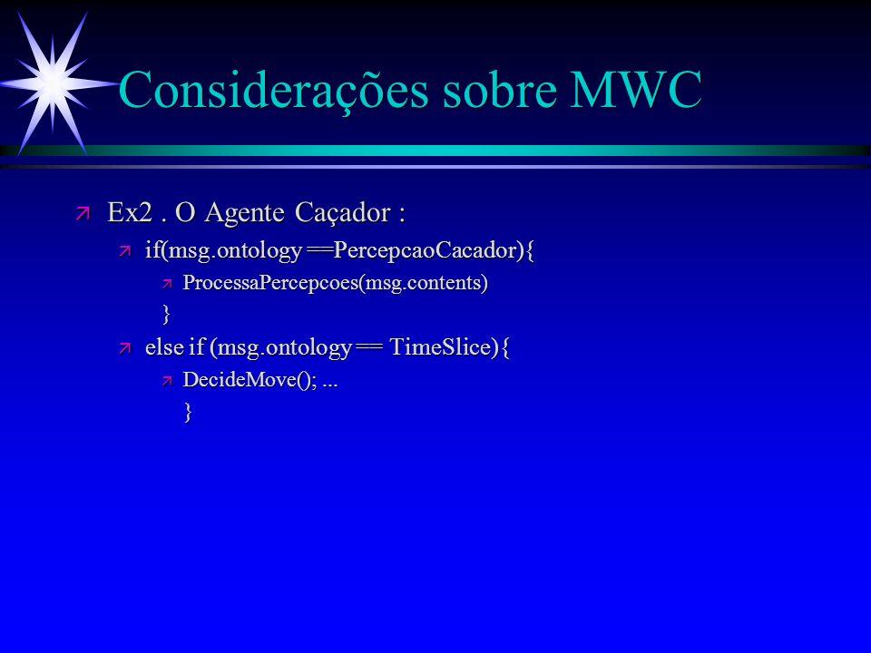 Considerações sobre o MWC ä Comunicação : ä Agency funciona como facilitador; ä Dinâmica do fluxo das mensagens; ä Verificação de Ontologias e Conteúdos; ä Ex1.