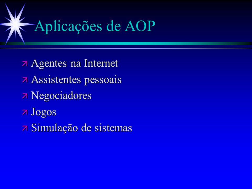 Comparação entre OOP e AOP ä AOP pode ser visto como uma especialização do OOP ä Comparações: OOPAOP OOPAOP Unidade BasicaObjetosAgentes EstadosObjetosEstados Mentais ComputaçãoMensagensMensagens e outros Tipos MensagensNão-EstruturadoAtos de Fala RestriçõesNenhumaHonestidade, consistência,etc