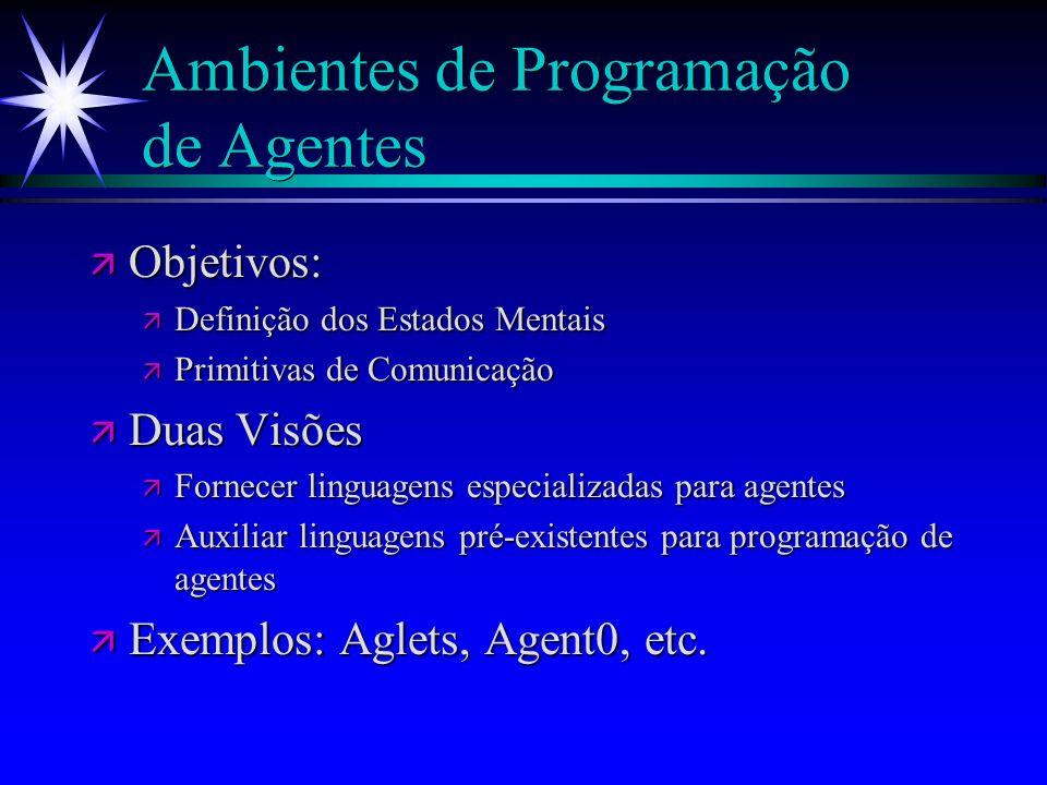 Aplicações de AOP ä Agentes na Internet ä Assistentes pessoais ä Negociadores ä Jogos ä Simulação de sistemas