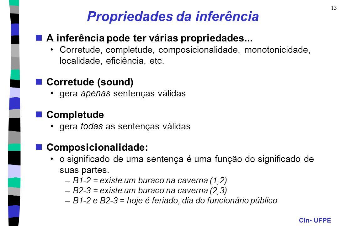 CIn- UFPE 13 Propriedades da inferência A inferência pode ter várias propriedades... Corretude, completude, composicionalidade, monotonicidade, locali