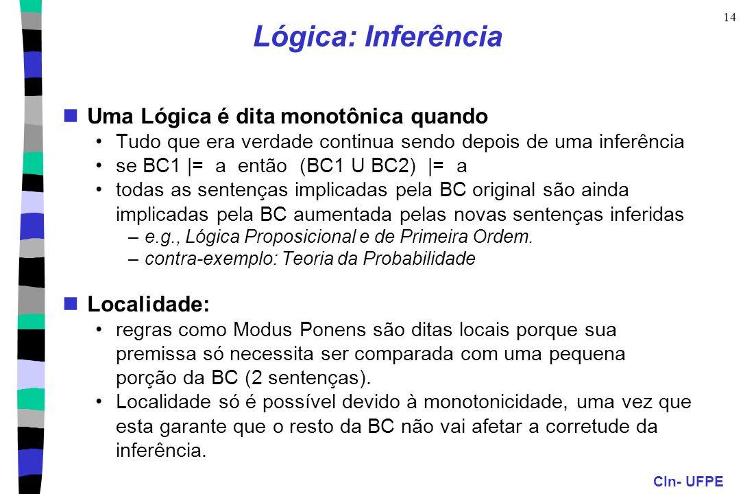 CIn- UFPE 14 Lógica: Inferência Uma Lógica é dita monotônica quando Tudo que era verdade continua sendo depois de uma inferência se BC1 |= a então (BC