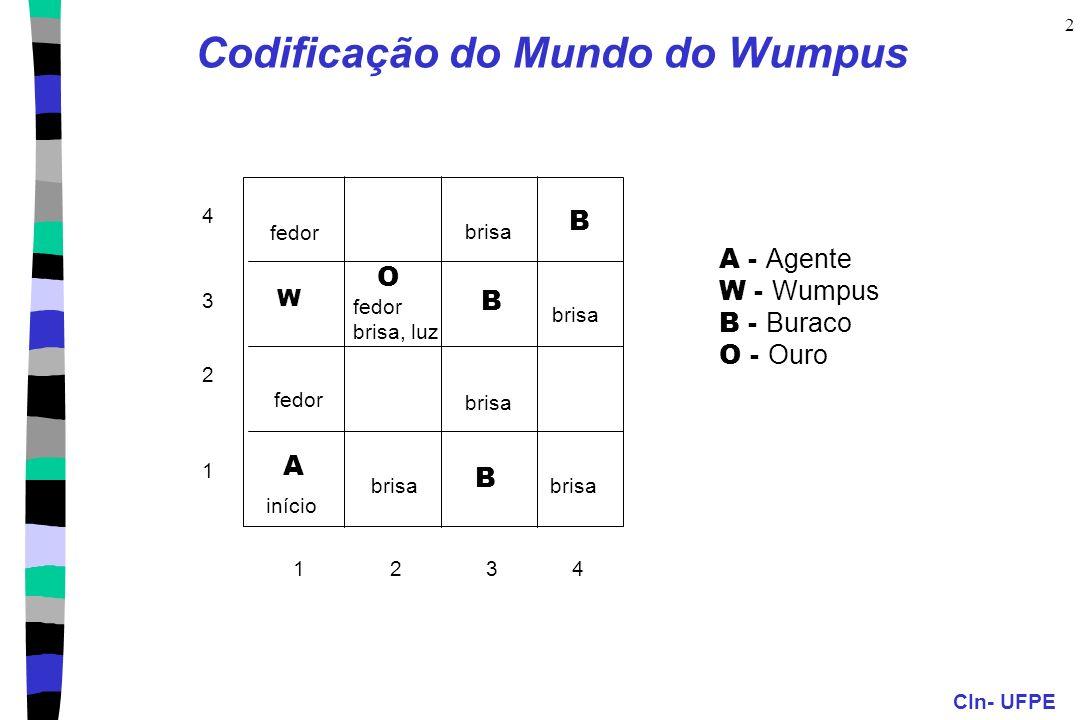 CIn- UFPE 2 Codificação do Mundo do Wumpus 1 2 3 4123 4 início fedor A brisa B W fedor brisa, luz B B brisa O A - Agente W - Wumpus B - Buraco O - Our