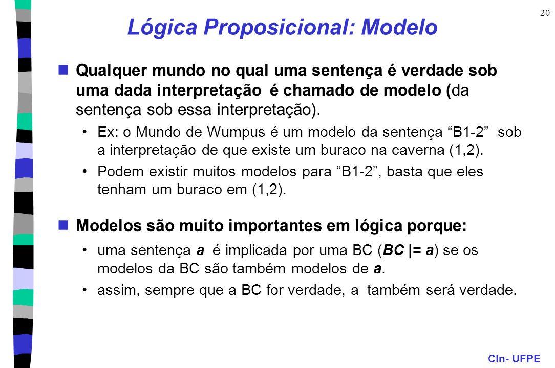 CIn- UFPE 20 Lógica Proposicional: Modelo Qualquer mundo no qual uma sentença é verdade sob uma dada interpretação é chamado de modelo (da sentença so