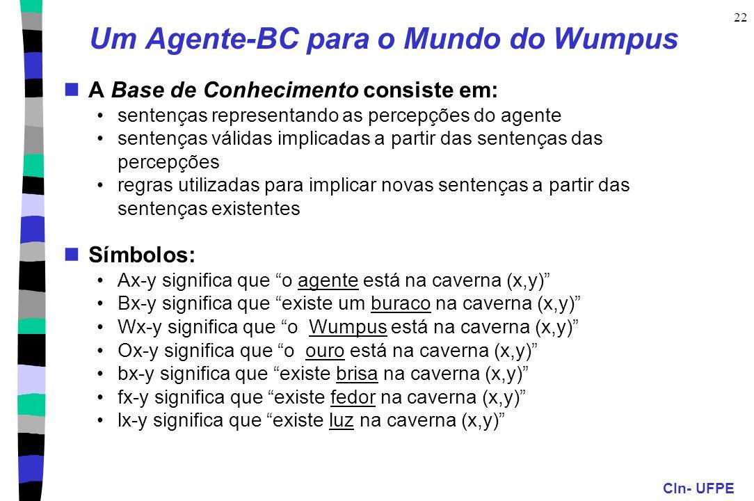 CIn- UFPE 22 Um Agente-BC para o Mundo do Wumpus A Base de Conhecimento consiste em: sentenças representando as percepções do agente sentenças válidas
