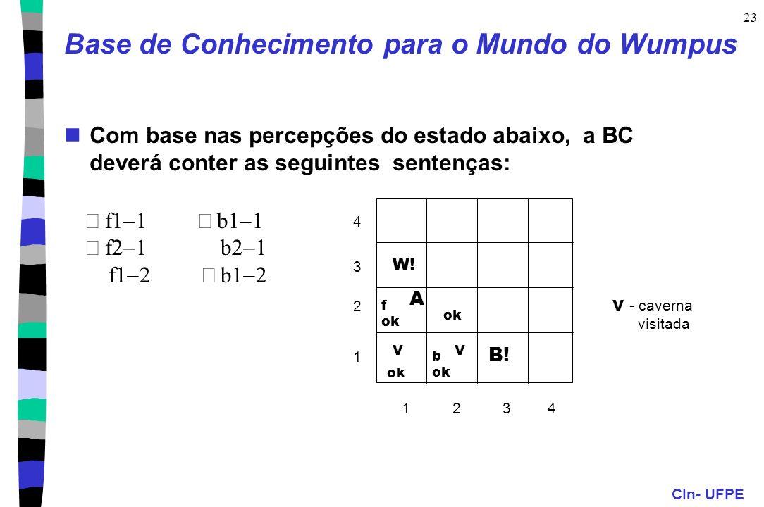CIn- UFPE 23 Base de Conhecimento para o Mundo do Wumpus Com base nas percepções do estado abaixo, a BC deverá conter as seguintes sentenças: V - cave
