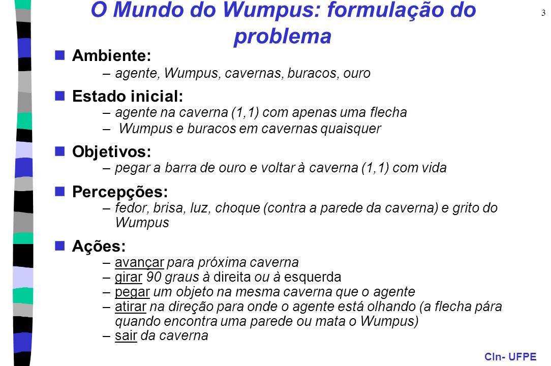 CIn- UFPE 3 O Mundo do Wumpus: formulação do problema Ambiente: –agente, Wumpus, cavernas, buracos, ouro Estado inicial: –agente na caverna (1,1) com