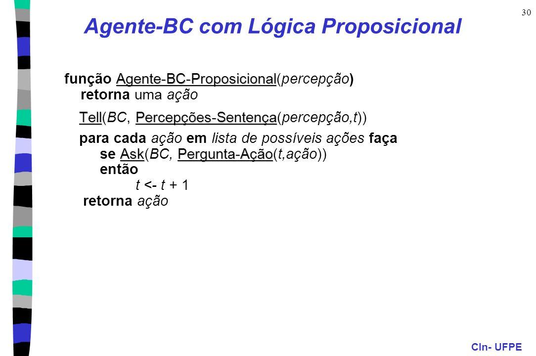 CIn- UFPE 30 Agente-BC com Lógica Proposicional Agente-BC-Proposicional função Agente-BC-Proposicional(percepção) retorna uma ação TellPercepções-Sent