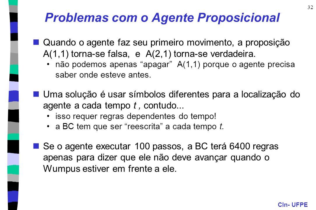 CIn- UFPE 32 Problemas com o Agente Proposicional Quando o agente faz seu primeiro movimento, a proposição A(1,1) torna-se falsa, e A(2,1) torna-se ve