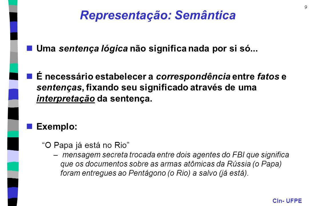 CIn- UFPE 9 Representação: Semântica Uma sentença lógica não significa nada por si só... É necessário estabelecer a correspondência entre fatos e sent