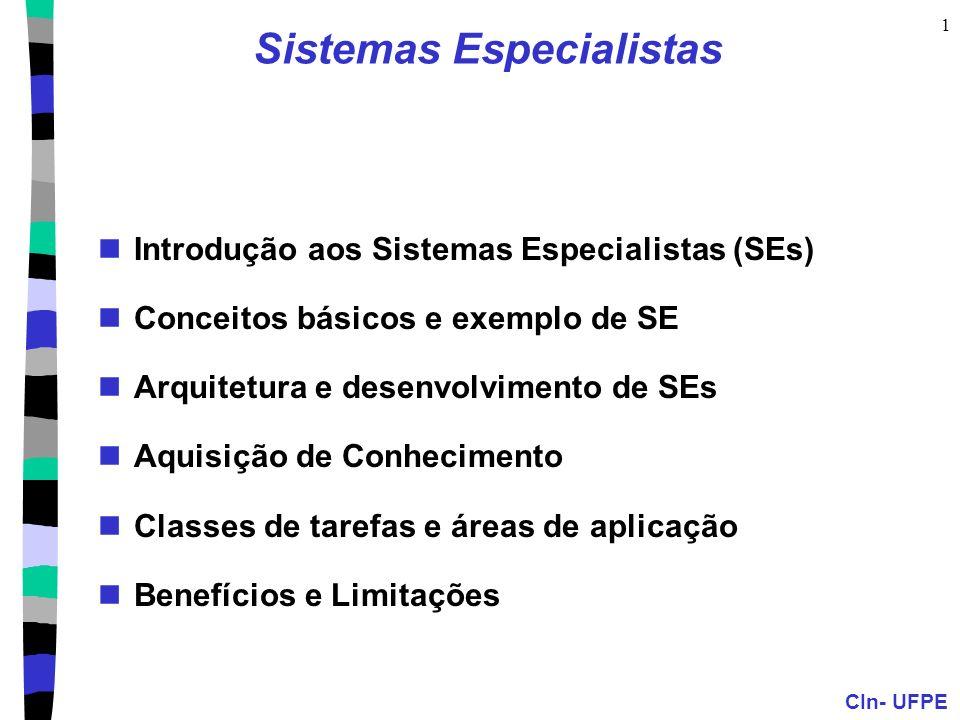 CIn- UFPE 1 Sistemas Especialistas Introdução aos Sistemas Especialistas (SEs) Conceitos básicos e exemplo de SE Arquitetura e desenvolvimento de SEs