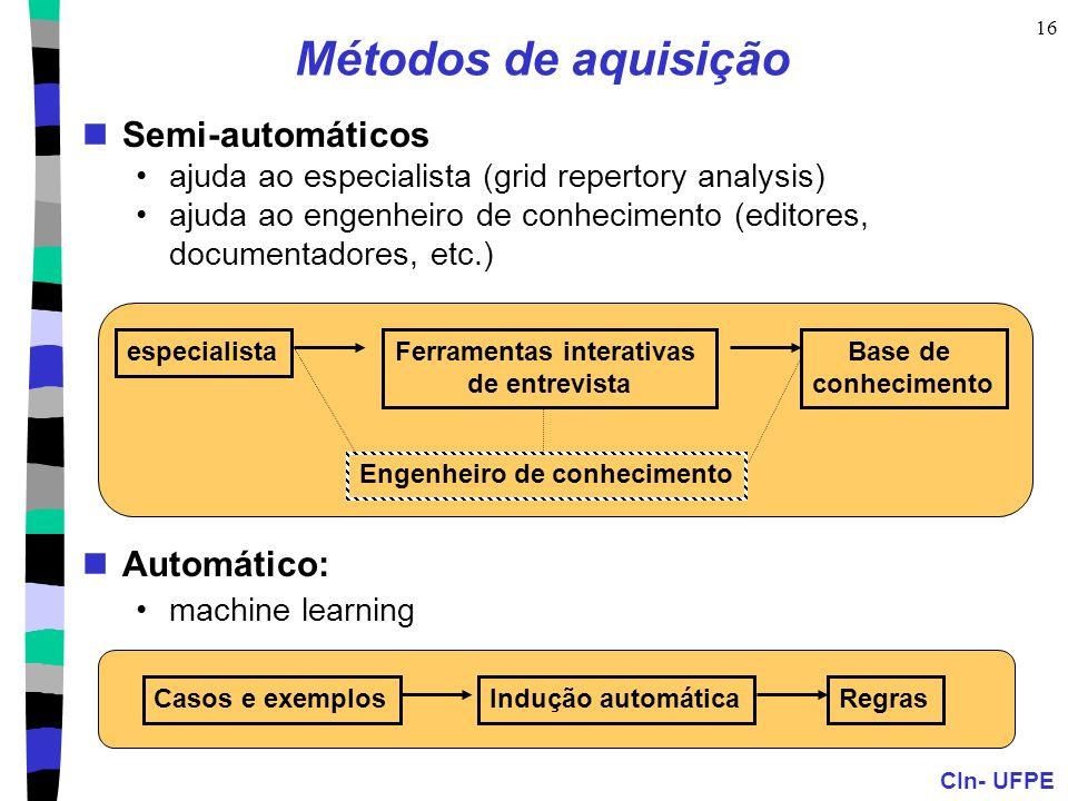 CIn- UFPE 16 Métodos de aquisição Semi-automáticos ajuda ao especialista (grid repertory analysis) ajuda ao engenheiro de conhecimento (editores, docu