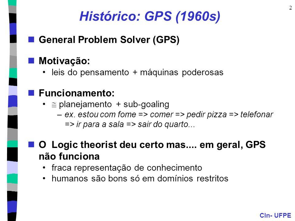 CIn- UFPE 2 Histórico: GPS (1960s) General Problem Solver (GPS) Motivação: leis do pensamento + máquinas poderosas Funcionamento: planejamento + sub-g