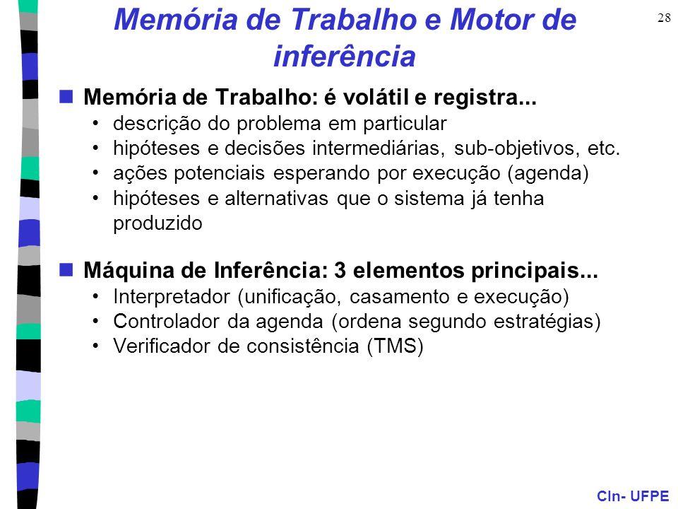 CIn- UFPE 28 Memória de Trabalho e Motor de inferência Memória de Trabalho: é volátil e registra... descrição do problema em particular hipóteses e de