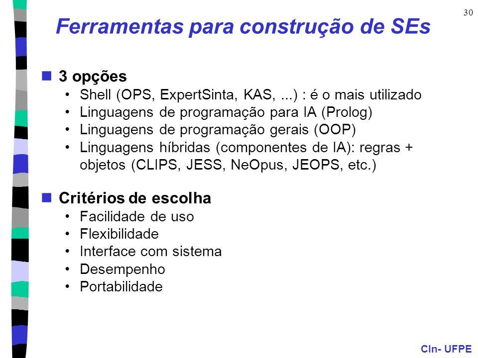 CIn- UFPE 30 Ferramentas para construção de SEs 3 opções Shell (OPS, ExpertSinta, KAS,...) : é o mais utilizado Linguagens de programação para IA (Pro