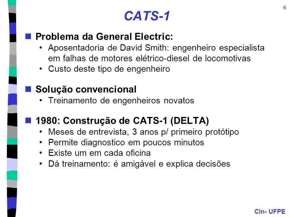 CIn- UFPE 6 CATS-1 Problema da General Electric: Aposentadoria de David Smith: engenheiro especialista em falhas de motores elétrico-diesel de locomot