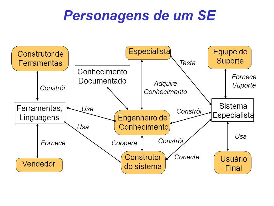 Engenheiro de Conhecimento Ferramentas, Linguagens Sistema Especialista Construtor de Ferramentas Construtor do sistema Especialista Equipe de Suporte
