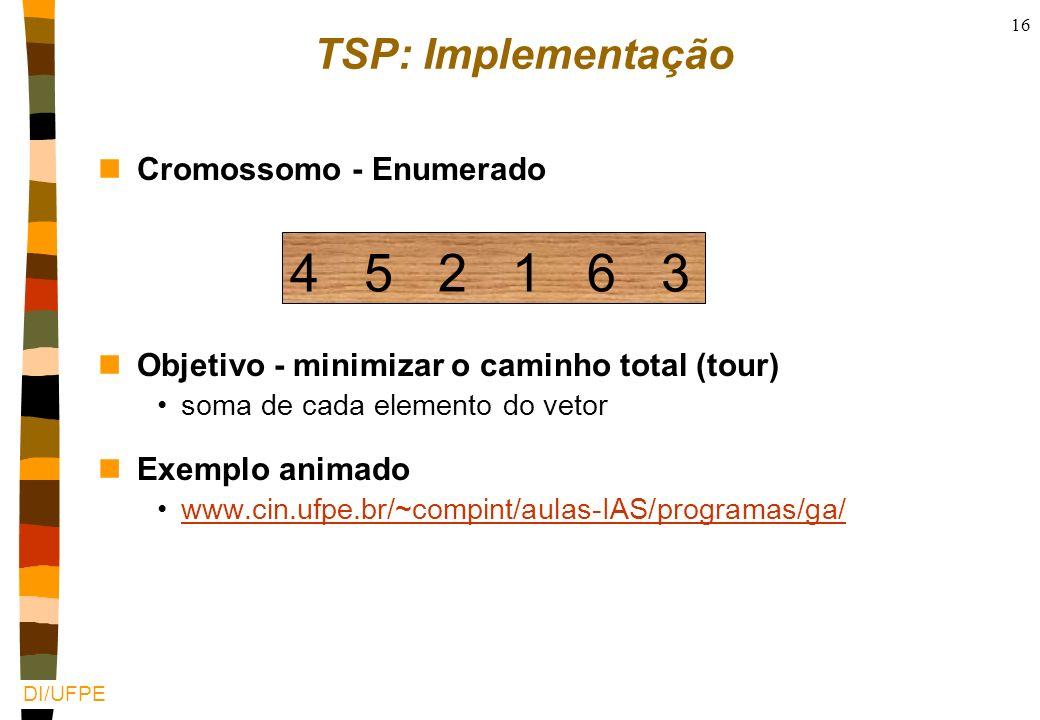 DI/UFPE 15 Exemplo 2: Problema do Caxeiro Viajante (TSP) nUm caixeiro viajante deve visitar N cidades em sua área de vendas nO caixeiro começa de uma