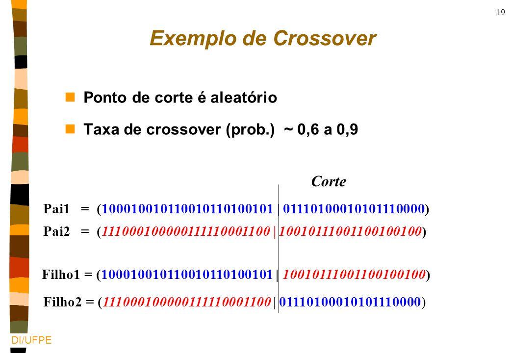 DI/UFPE 18 Exemplo de cromossomo 01101001001001101000001000111000100001110010 17227842328690 -17,851257 11,040592 x y Decodificar a cadeia de bits par