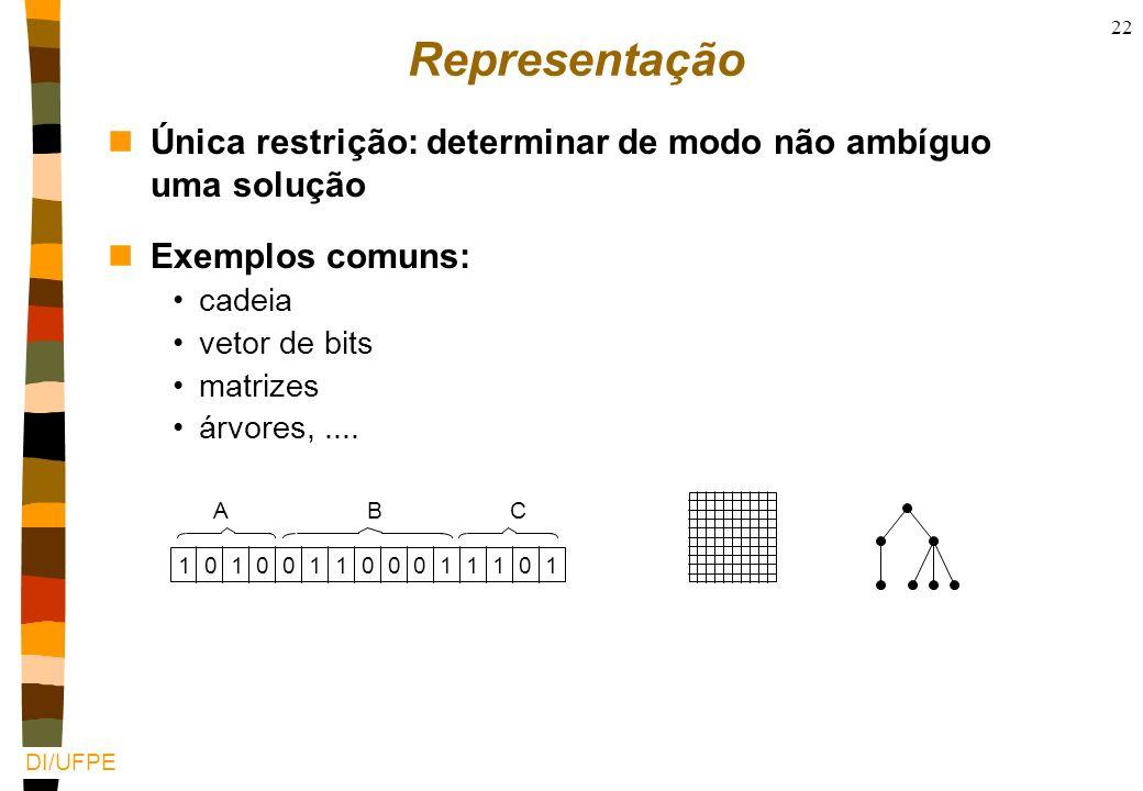 DI/UFPE 21 Questões centrais nComo representar os indivíduos? nQuem é a população inicial? nComo definir a função objetivo? nQuais são os critérios de
