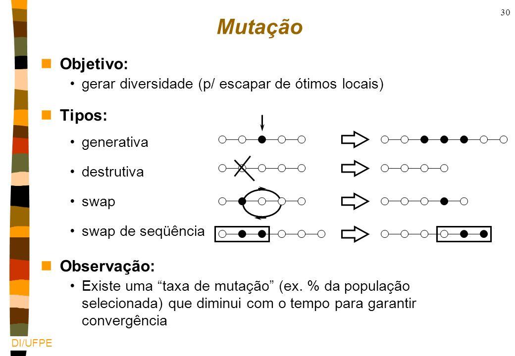 DI/UFPE 29 X X Reprodução (2) Quanto mais estruturada a representação mais difícil de definir o cruzamento