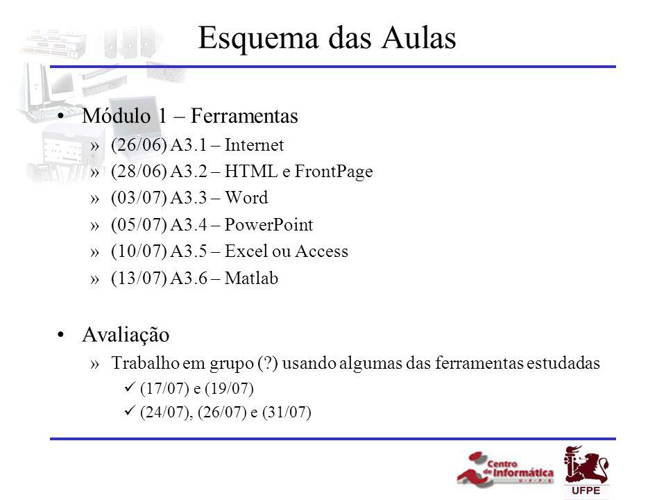 Esquema das Aulas Módulo 1 – Ferramentas »(26/06) A3.1 – Internet »(28/06) A3.2 – HTML e FrontPage »(03/07) A3.3 – Word »(05/07) A3.4 – PowerPoint »(1