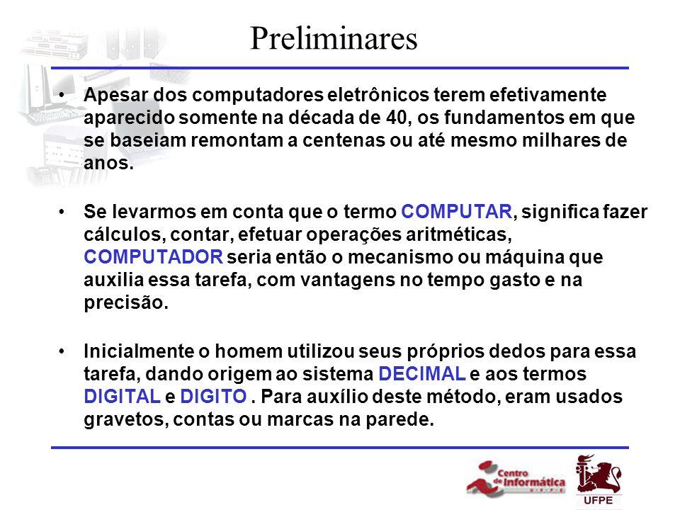 Preliminares Apesar dos computadores eletrônicos terem efetivamente aparecido somente na década de 40, os fundamentos em que se baseiam remontam a cen