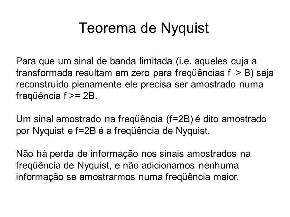 Teorema de Nyquist Para que um sinal de banda limitada (i.e. aqueles cuja a transformada resultam em zero para freqüências f > B) seja reconstruido pl