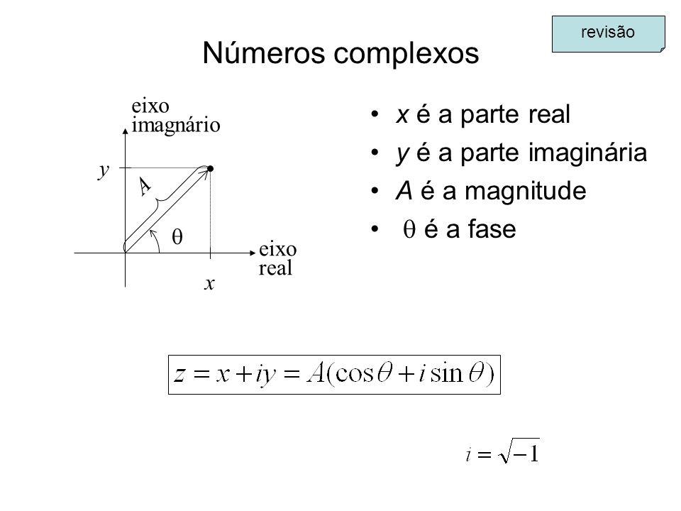 Números complexos x é a parte real y é a parte imaginária A é a magnitude é a fase A x eixo real eixo imagnário y revisão