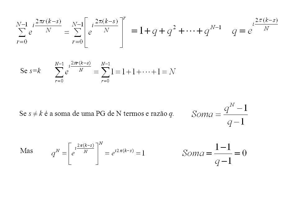 Se s=k Se s k é a soma de uma PG de N termos e razão q. Mas