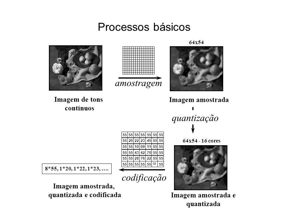 Processos básicos Imagem de tons contínuos 64x54 Imagem amostrada amostragem 64x54 - 16 cores Imagem amostrada e quantizada quantização 55 2022234555