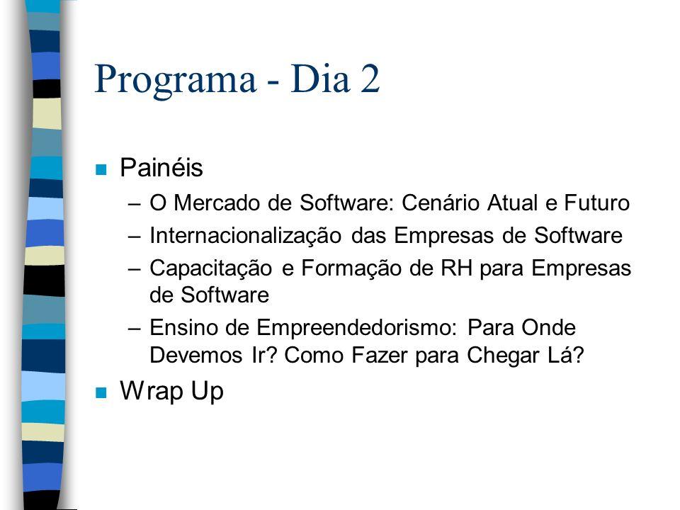 Programa - Dia 2 n Painéis –O Mercado de Software: Cenário Atual e Futuro –Internacionalização das Empresas de Software –Capacitação e Formação de RH para Empresas de Software –Ensino de Empreendedorismo: Para Onde Devemos Ir.