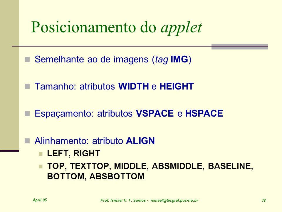 April 05 Prof. Ismael H. F. Santos - ismael@tecgraf.puc-rio.br 32 Posicionamento do applet Semelhante ao de imagens (tag IMG) Tamanho: atributos WIDTH