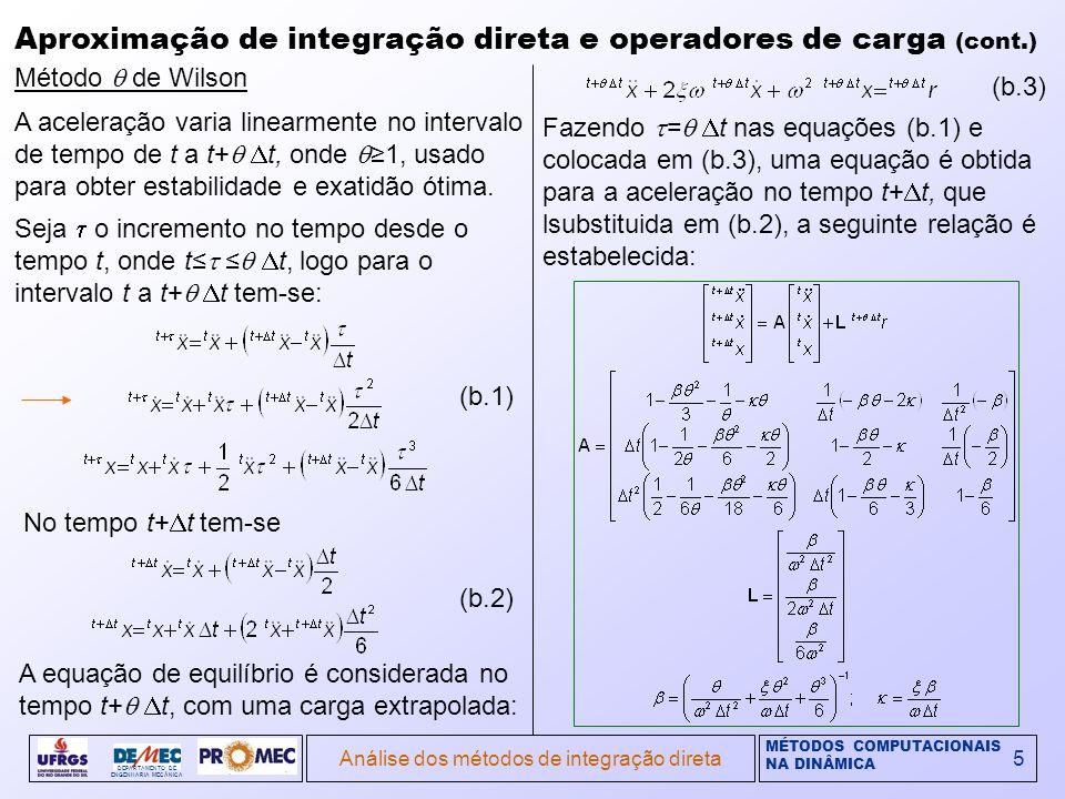 MÉTODOS COMPUTACIONAIS NA DINÂMICA DEPARTAMENTO DE ENGENHARIA MECÂNICA Análise dos métodos de integração direta5 Aproximação de integração direta e operadores de carga (cont.) Método de Wilson A aceleração varia linearmente no intervalo de tempo de t a t+ t, onde 1, usado para obter estabilidade e exatidão ótima.