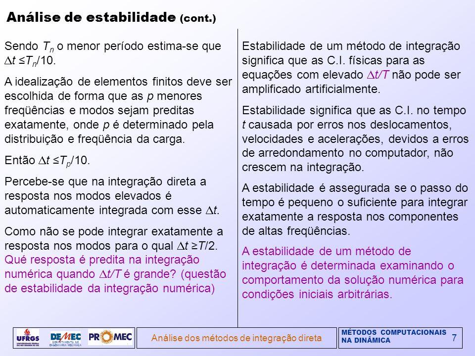 MÉTODOS COMPUTACIONAIS NA DINÂMICA DEPARTAMENTO DE ENGENHARIA MECÂNICA Análise dos métodos de integração direta7 Análise de estabilidade (cont.) Sendo T n o menor período estima-se que t T n /10.