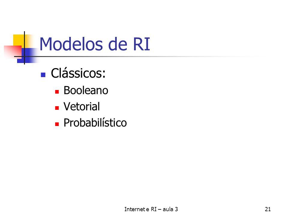 Internet e RI – aula 321 Modelos de RI Clássicos: Booleano Vetorial Probabilístico