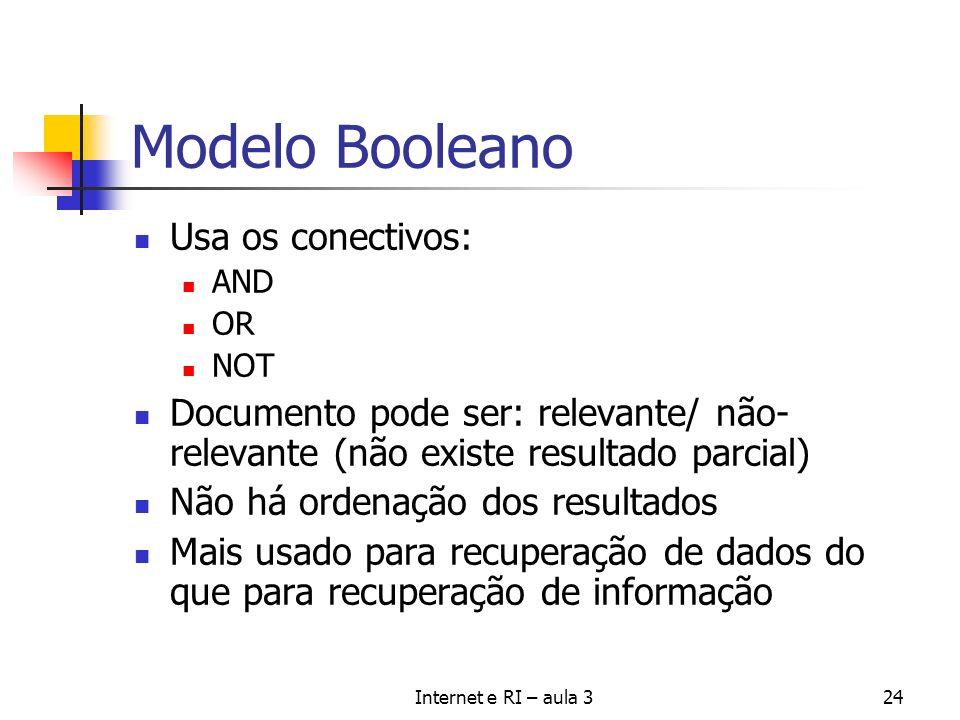 Internet e RI – aula 324 Modelo Booleano Usa os conectivos: AND OR NOT Documento pode ser: relevante/ não- relevante (não existe resultado parcial) Nã