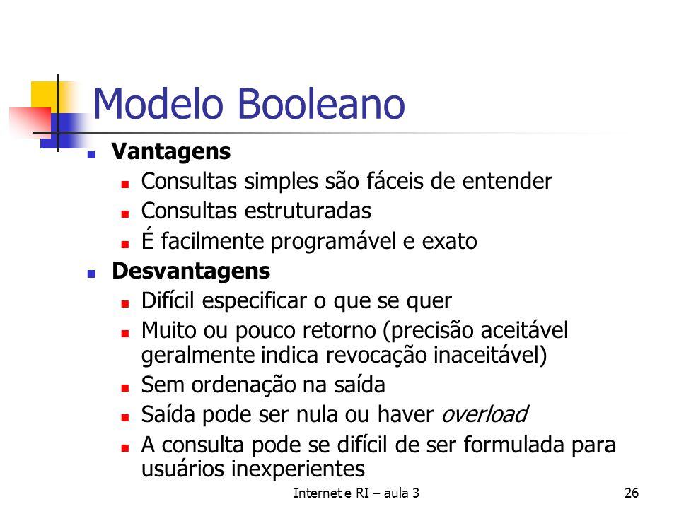 Internet e RI – aula 326 Modelo Booleano Vantagens Consultas simples são fáceis de entender Consultas estruturadas É facilmente programável e exato De