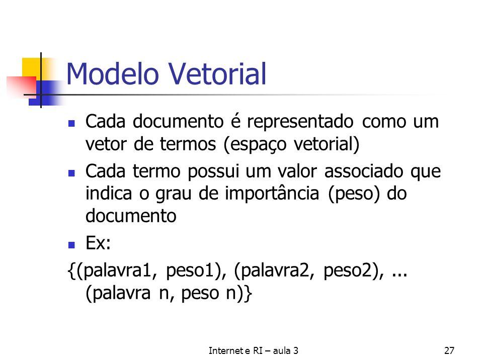 Internet e RI – aula 327 Modelo Vetorial Cada documento é representado como um vetor de termos (espaço vetorial) Cada termo possui um valor associado