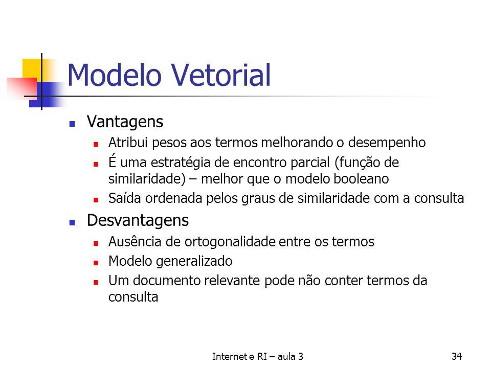 Internet e RI – aula 334 Modelo Vetorial Vantagens Atribui pesos aos termos melhorando o desempenho É uma estratégia de encontro parcial (função de si