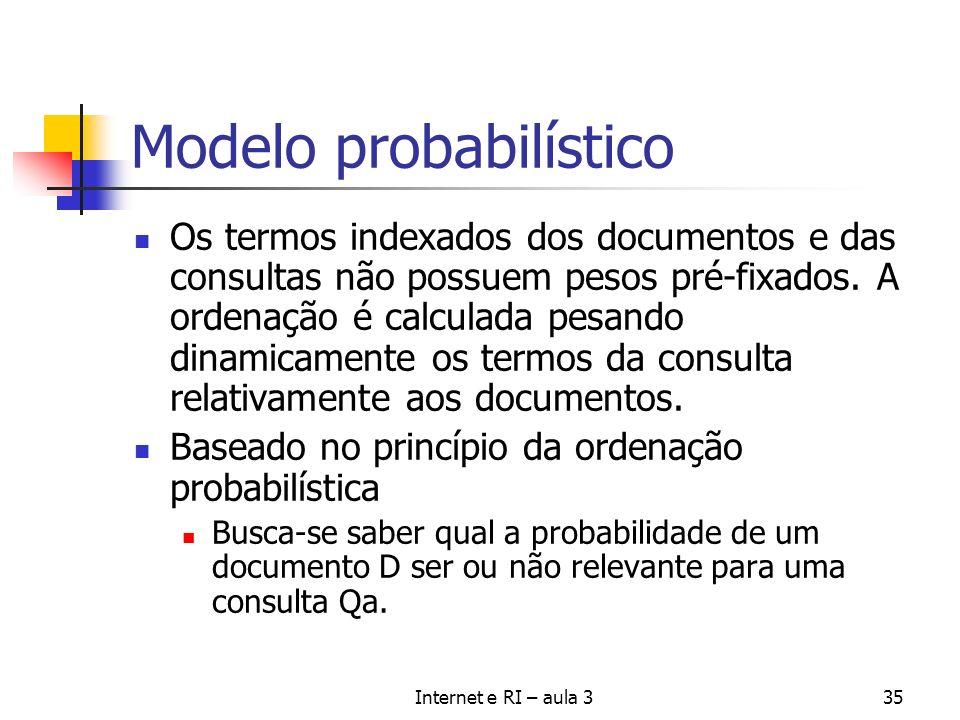 Internet e RI – aula 335 Modelo probabilístico Os termos indexados dos documentos e das consultas não possuem pesos pré-fixados. A ordenação é calcula
