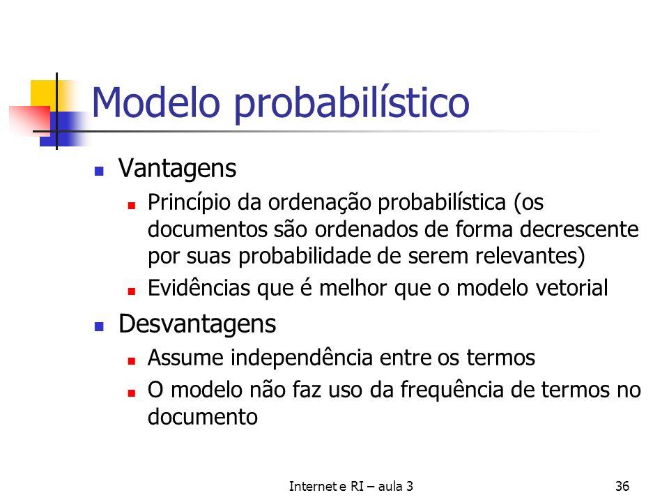 Internet e RI – aula 336 Modelo probabilístico Vantagens Princípio da ordenação probabilística (os documentos são ordenados de forma decrescente por s