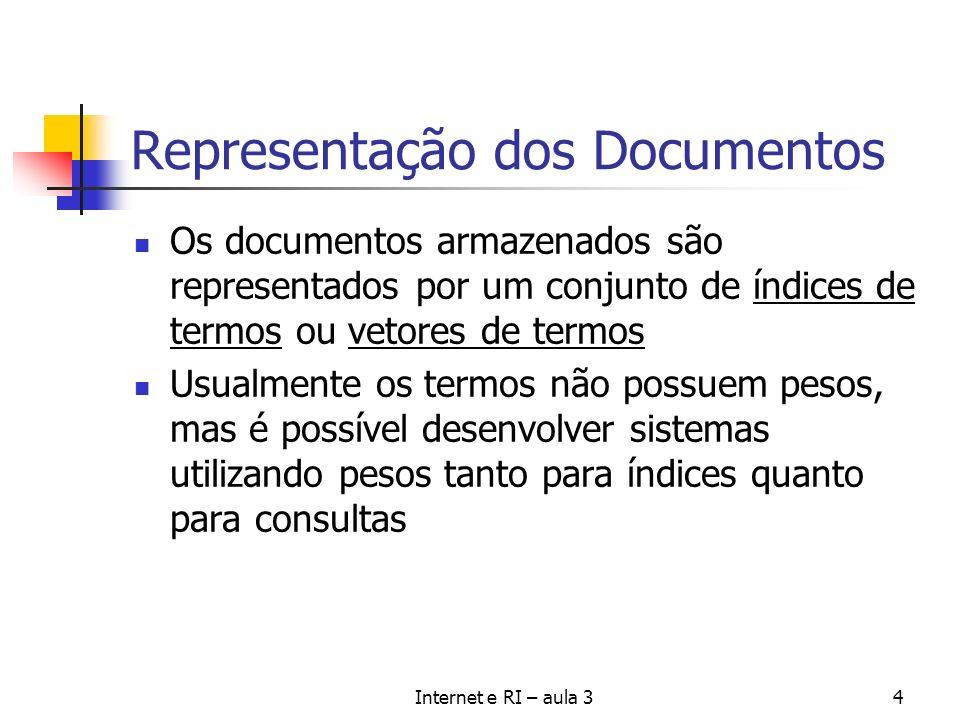 Internet e RI – aula 34 Representação dos Documentos Os documentos armazenados são representados por um conjunto de índices de termos ou vetores de te